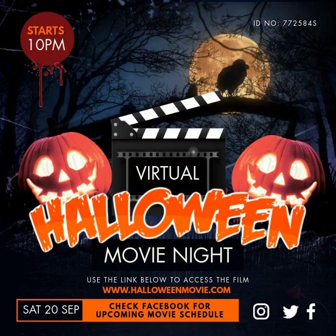 Virtual Horror Movie Night Halloween Invite Quadrado (1:1) template