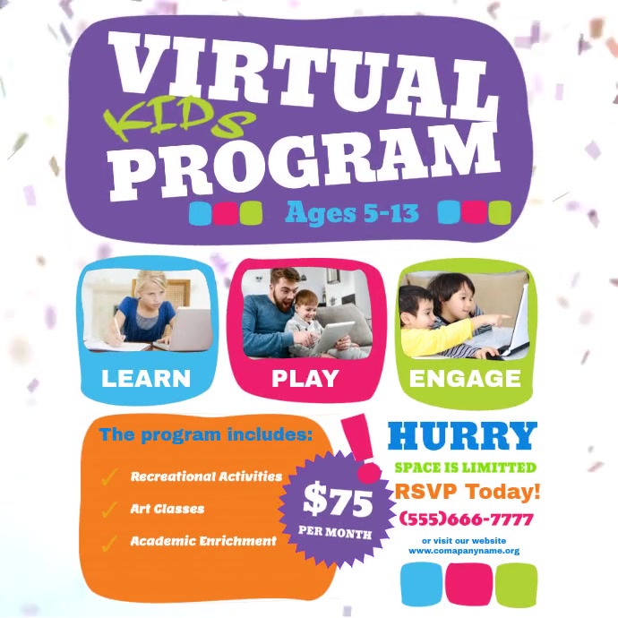 Virtual kids program Pos Instagram template