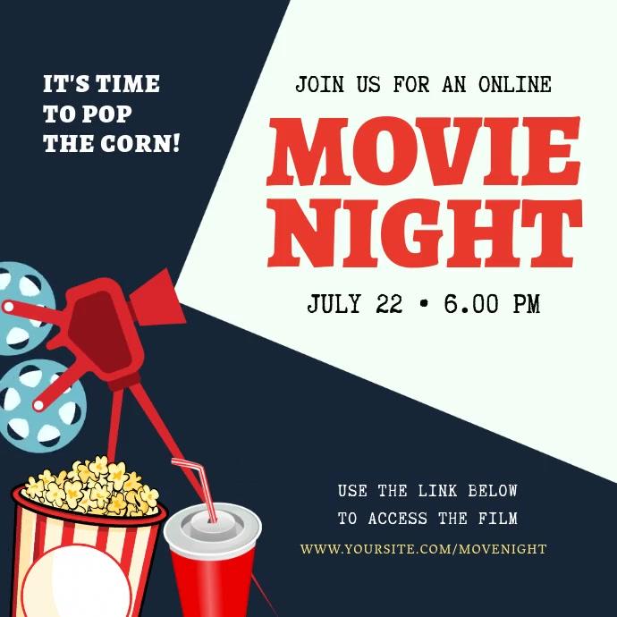 Virtual Movie Night from Home Invitation Persegi (1:1) template