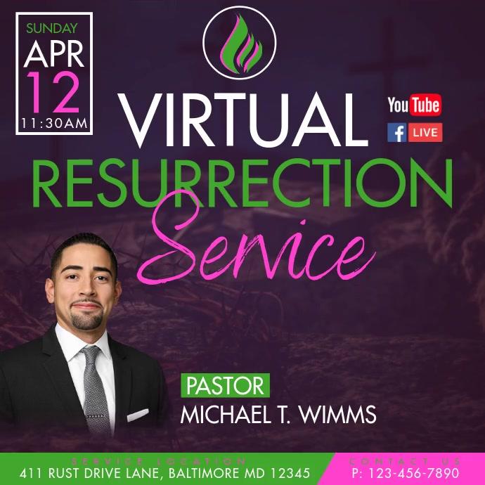 Virtual Resurrection Service Publicación de Instagram template