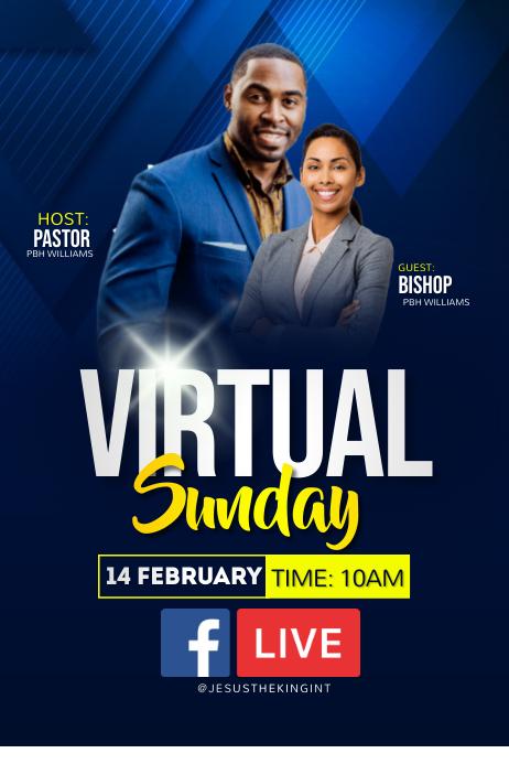 Virtual Sunday Poster template