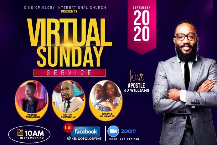 Virtual Sunday flyer Etiket template