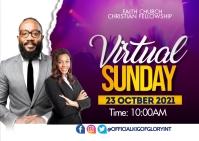 virtual Sunday service Postcard template