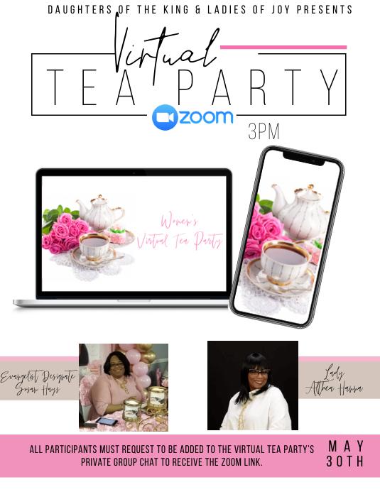 Virtual Tea Party 传单(美国信函) template