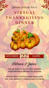 Virtual Thanksgiving Dinner Invitation WhatsApp Status template