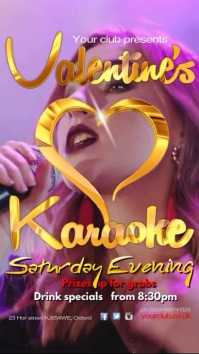 Vlaentines Karaoke Show Flyer Pantalla Digital (9:16) template