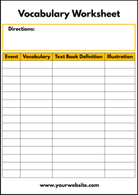 Vocabulary Worksheet Printable Template A4