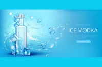 Vodka bottle with ice cubes promo banner Etiqueta template