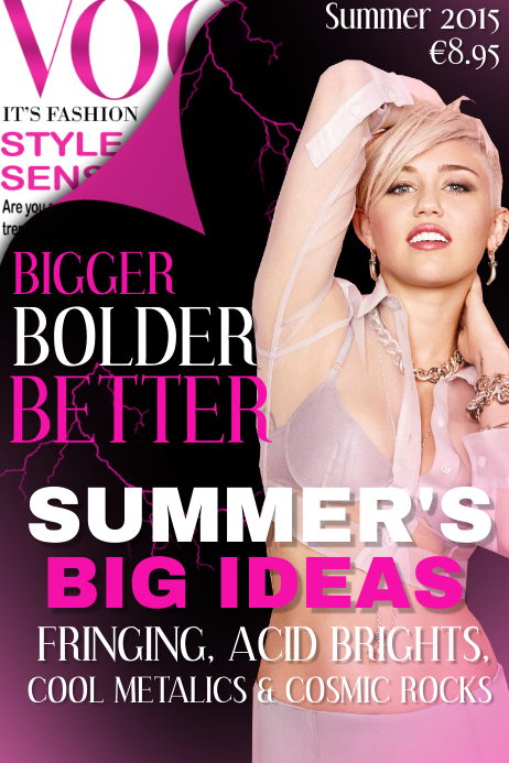 Vogue Bigger Bolder Better Fashion Magazine Cover Template Postermywall