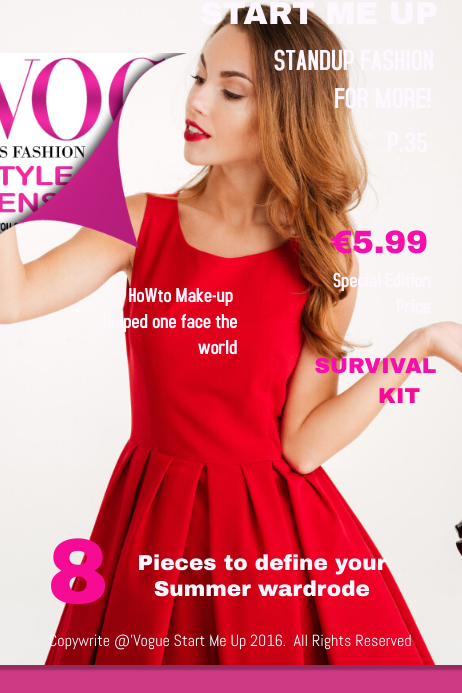 Vogue Start Me Up Fashion Magazine Cover · Customize template