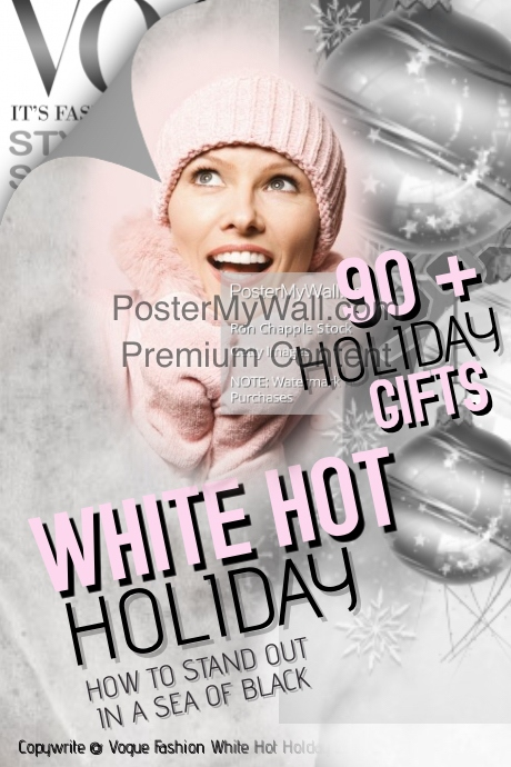 Vogue white Hot Holiday Magazine Cover Template | PosterMyWall