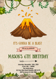 Volcano birthday party invitation