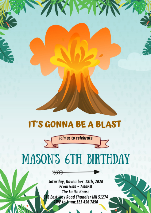 Volcano dinosaur birthday party invitation