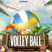 Volley ball ,beach party Square (1:1) template