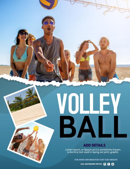 Volleyball, Beach Pamflet (Letter AS) template