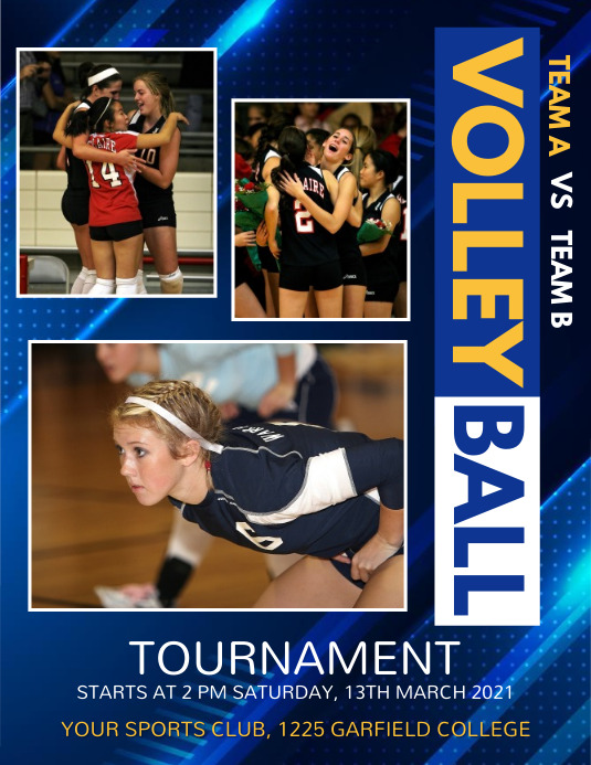 volleyball, volleyball tournament, game Flyer (US Letter) template