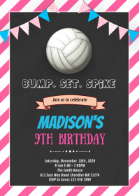 Volleyball birthday invitation