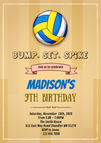 Volleyball birthday invitation A6 template