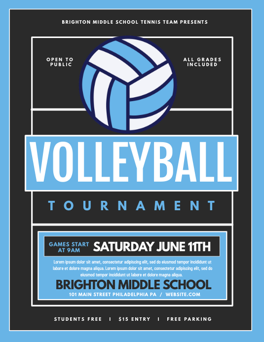 Volleyball Flyer (format US Letter) template