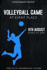 Volleyball game event flyer template