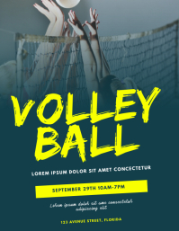 Volleyball Game Flyer Template Volantino (US Letter)