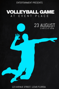 volleyball game sport match event poster flyer template