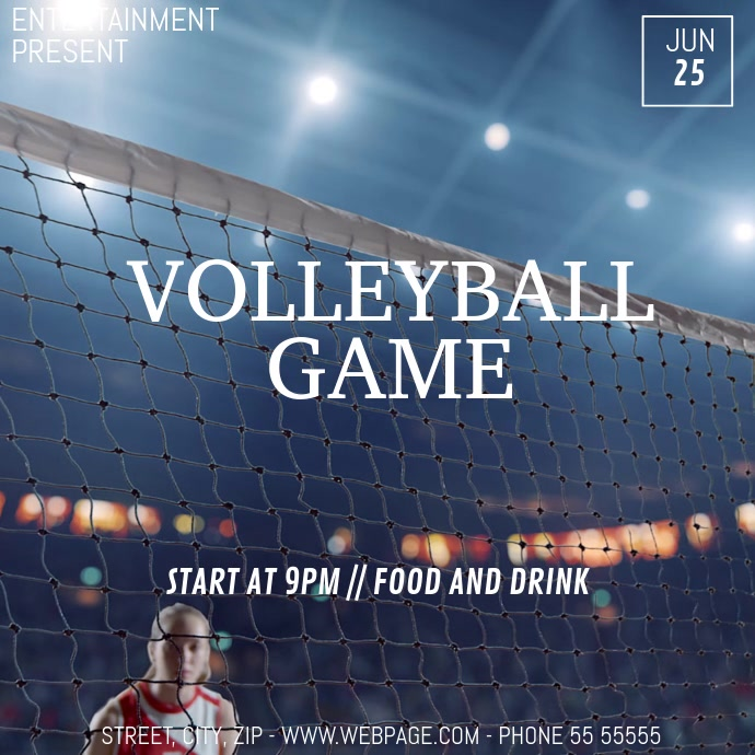 Volleyball game video flyer template