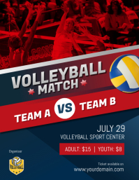 Volleyball Match Game Poster Flyer Template Volantino (US Letter)