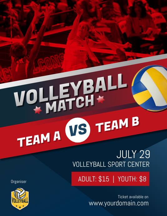 Volleyball Match Game Poster Flyer Template Postermywall
