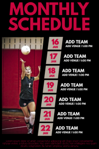 Volleyball schedule template