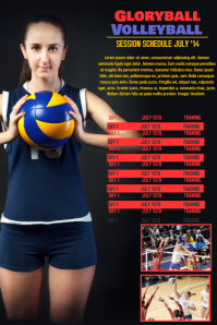 Volleyball Sports Team Schedule Template Poster
