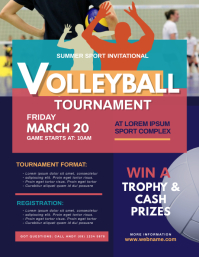 Volleyball Tournament Flyer Løbeseddel (US Letter) template