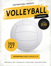volleyball Tournament Flyer Template Løbeseddel (US Letter)