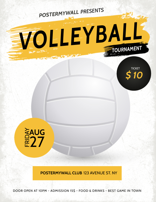 volleyball Tournament Flyer Template Pamflet (VSA Brief)