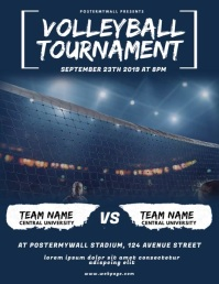 Volleyball Tournament Flyer Video Design Løbeseddel (US Letter) template