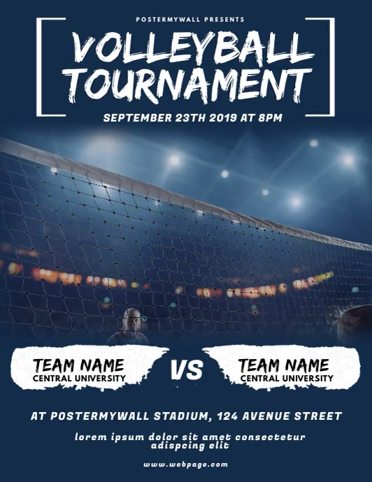 Volleyball Tournament Flyer Video Design Folder (US Letter) template
