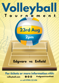 Volleyball Tournament Poster A4 template