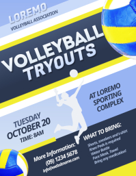 Volleyball Tryouts Flyer Løbeseddel (US Letter) template
