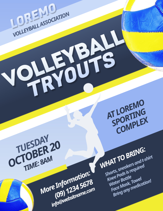 Volleyball Tryouts Flyer Pamflet (Letter AS) template