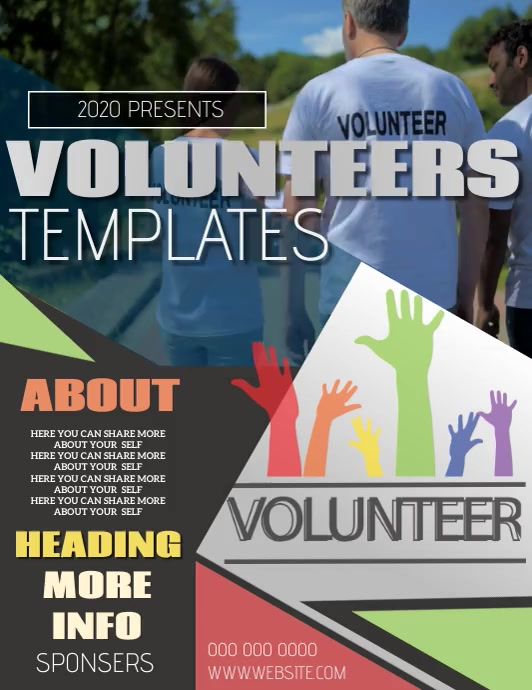 VOLUNTEER EVENT FLYER POSTER TEMPLATE Volantino (US Letter)
