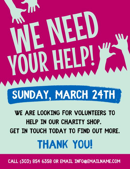 volunteer flyer template postermywall