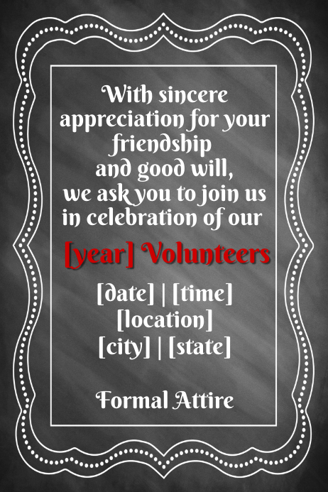 Volunteer Formal Invitation Event Flyer Poster Template