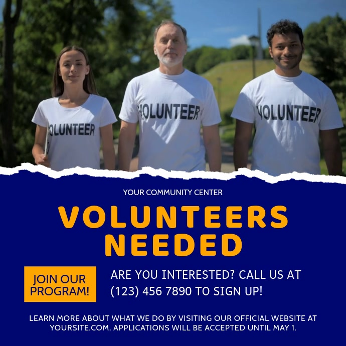 Volunteers Needed Fundraiser Square Video