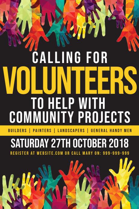 Volunteers Needed Poster Plakat template