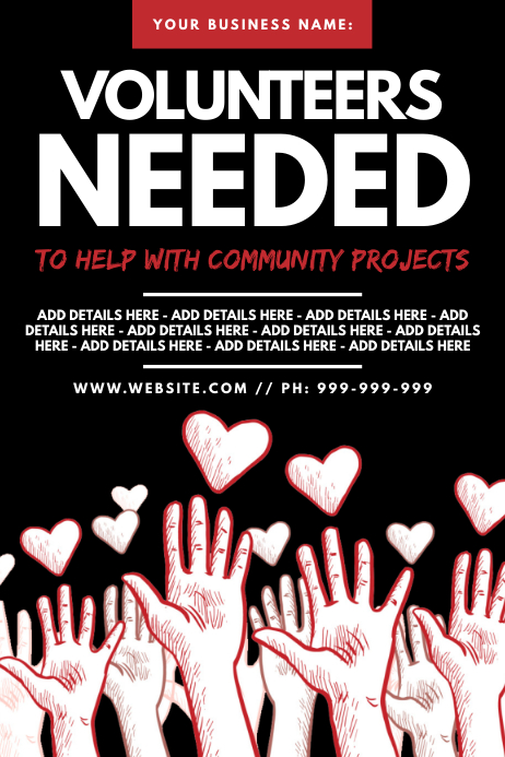 Volunteers Needed Poster template