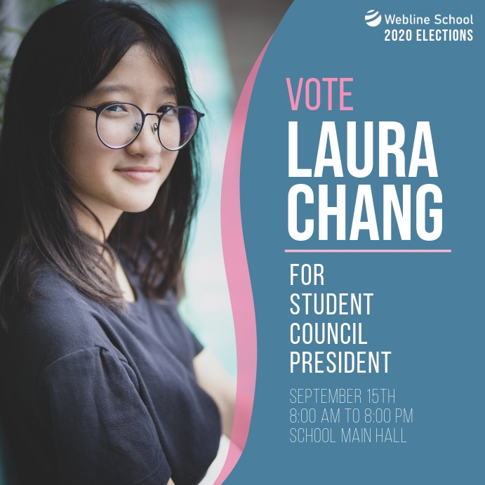 Vote for Student Council President elections Instagram-opslag template