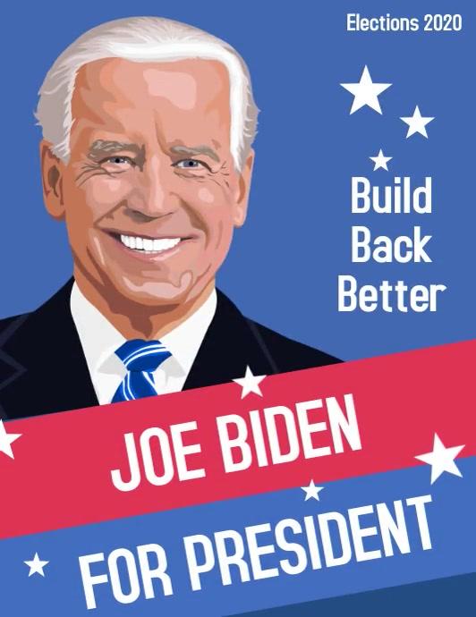 Vote Joe Biden for president 2020 campaign Volante (Carta US) template
