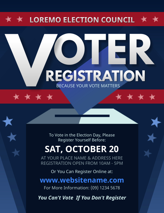 Voter Registration Flyer Volante (Carta US) template