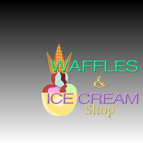 Waffles and Ice Cream Logo template