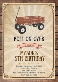 Wagon birthday party invitation